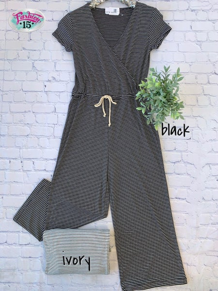 Striped Jumpsuits w/ Drawstring *Final Sale*