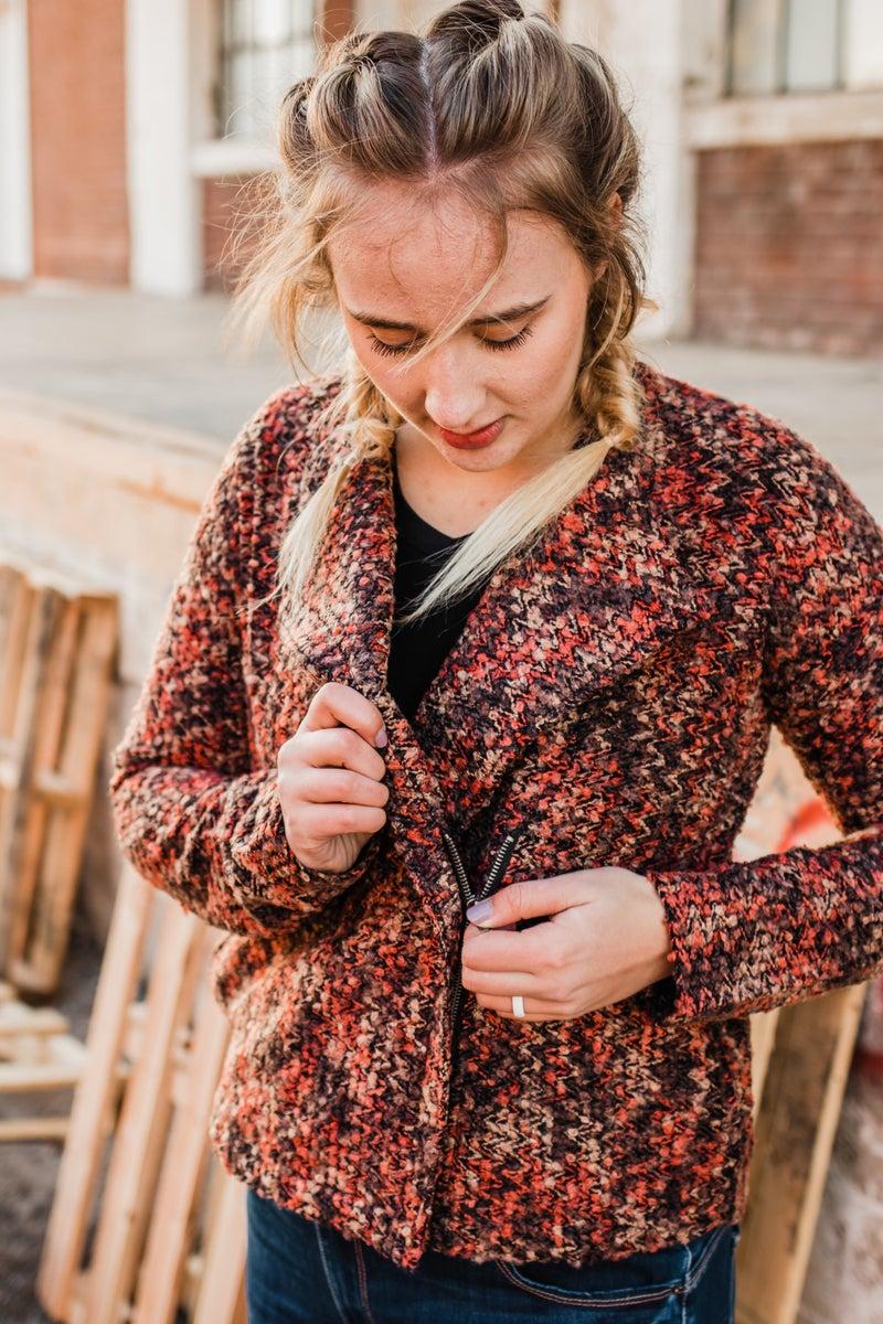 .Knit Jacket w/ Zipper