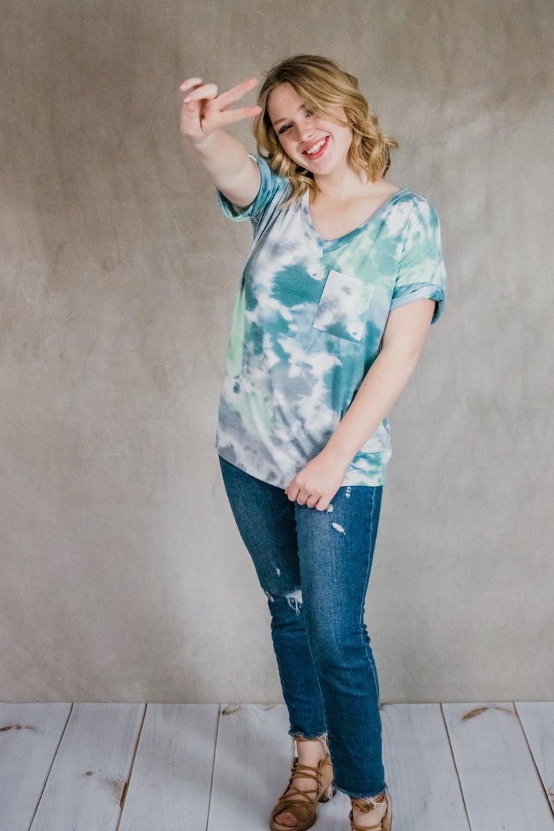 ~Blue & Green Tye Dye Top