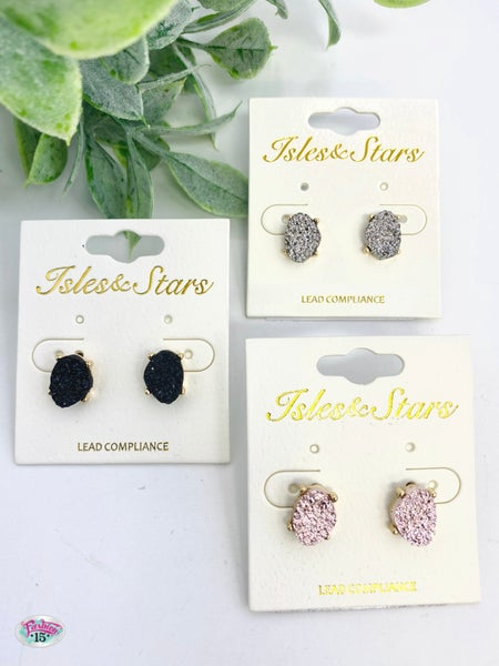 .Trio Druzy Sparkly Earrings