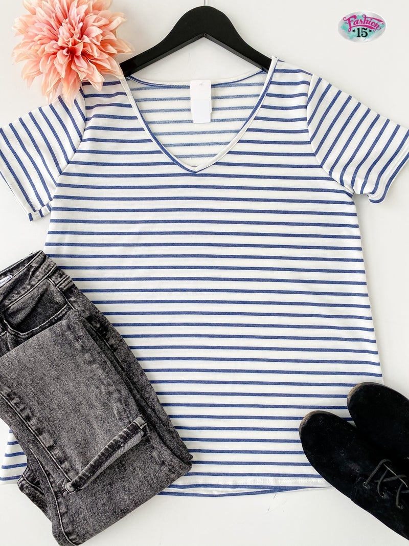 ~Blue Striped Top