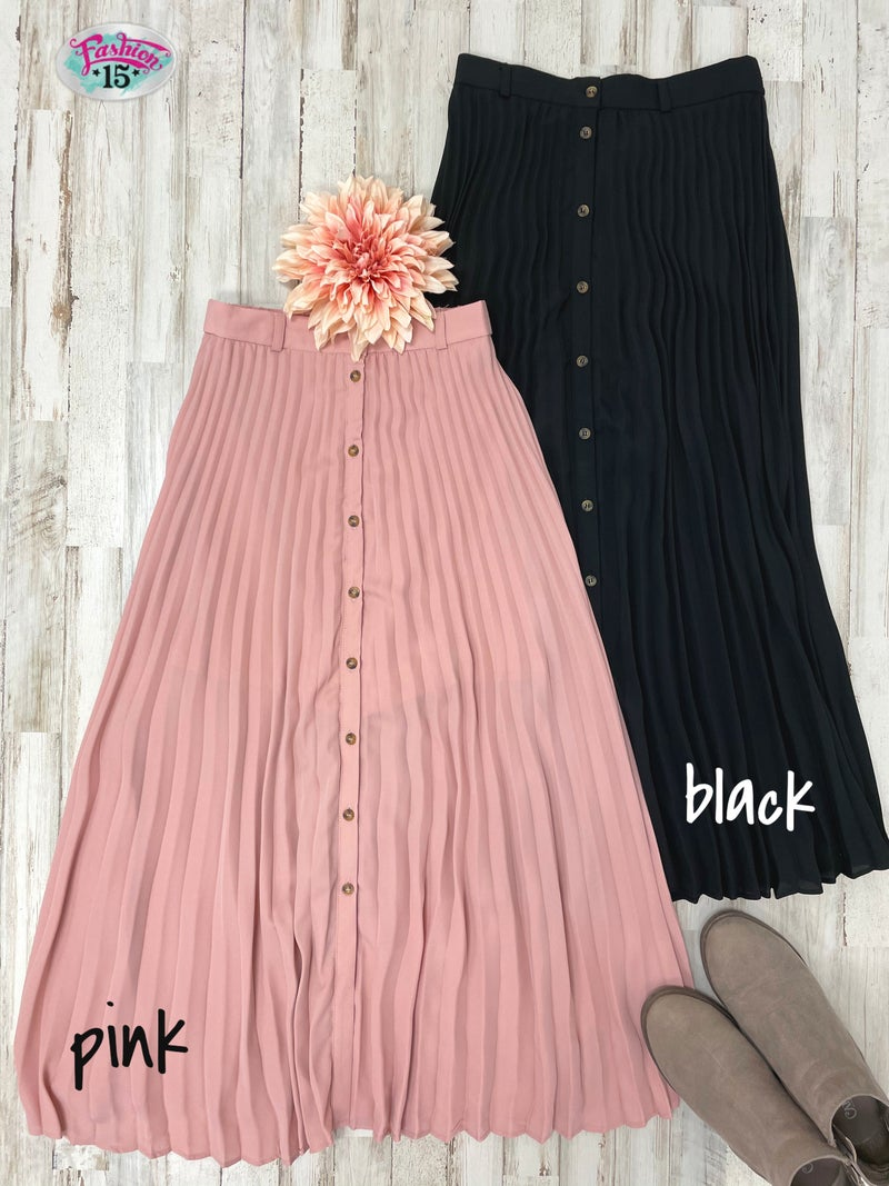 Pleated Skirt w/ Buttons