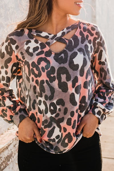 ~.Pink & Charcoal Animal Print Top w/ Crossover