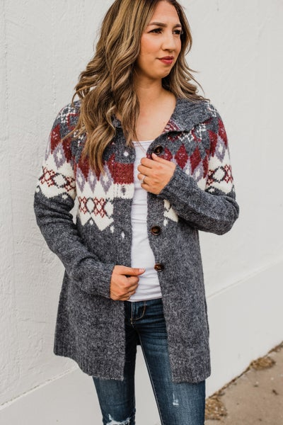 .Navy Patterned Cardigan