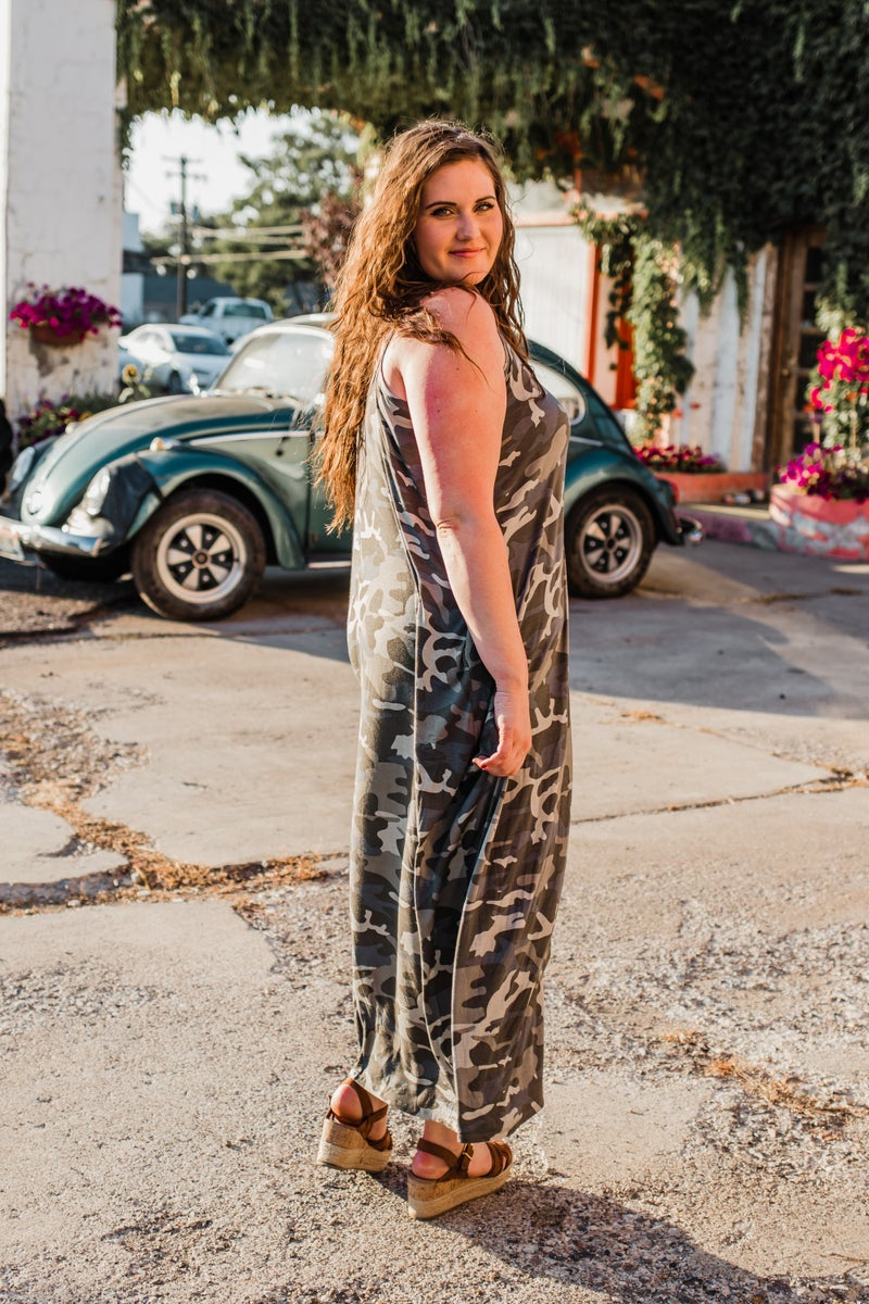 Plus Camo Cami Maxi Dress