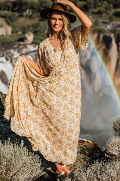 *Erin's Closet* Mustard Floral Maxi Dress