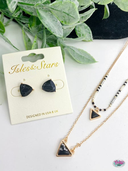.Triangle Necklace & Earring Set