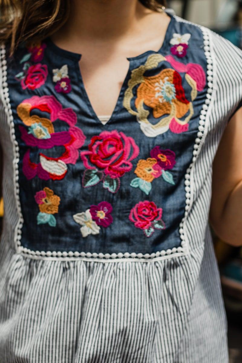 *Erin's Closet* Striped & Floral Tunic
