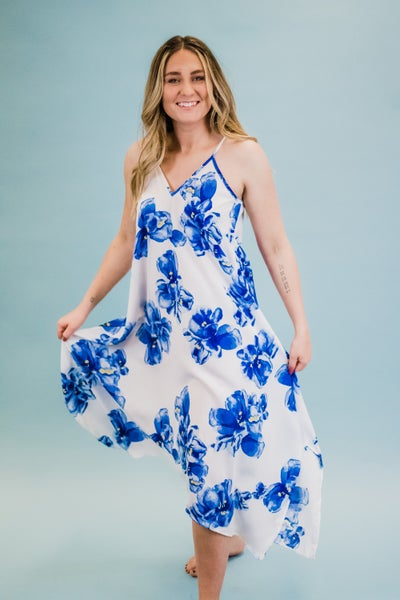 Strappy Blue & Ivory Floral Dress