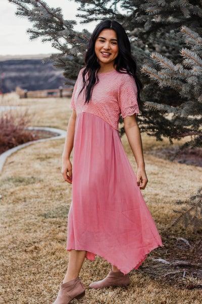 Rose Pink Dress w/ Lace Detail