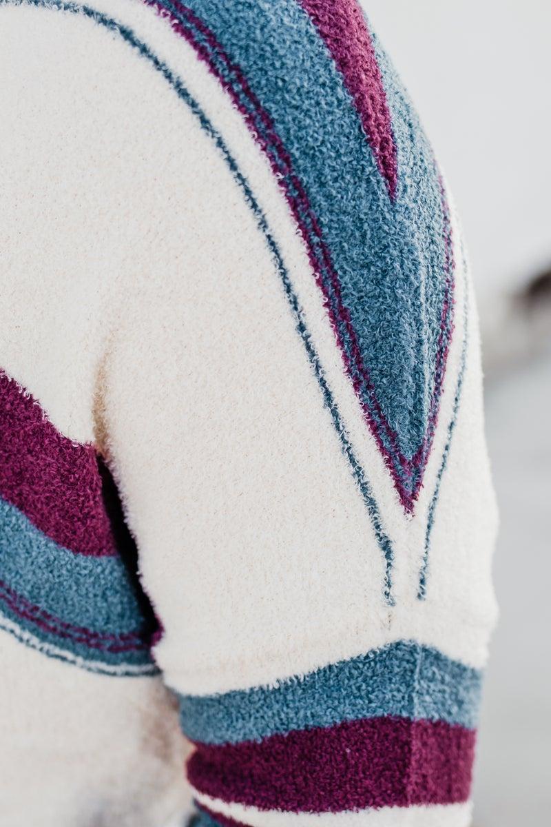 .Super Soft Striped Cowl Neck Top