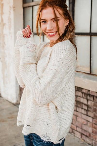 Speckled Cream Distressed Sweater