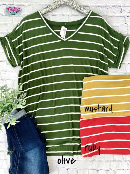 Plus Striped Top w/ Cuffed Sleeves