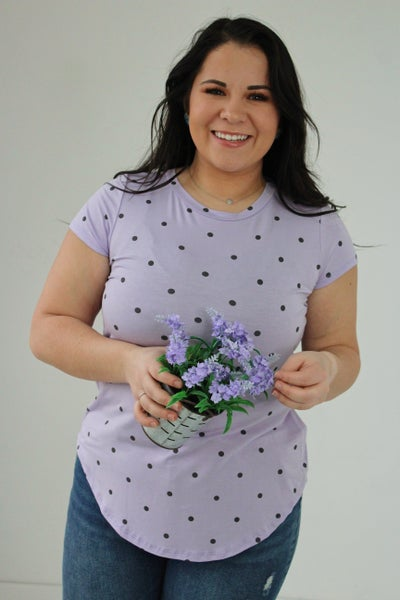 Lilac Polka Dot Top