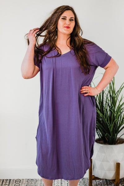 Plus V-Neck Short Sleeve Round Hem Dress