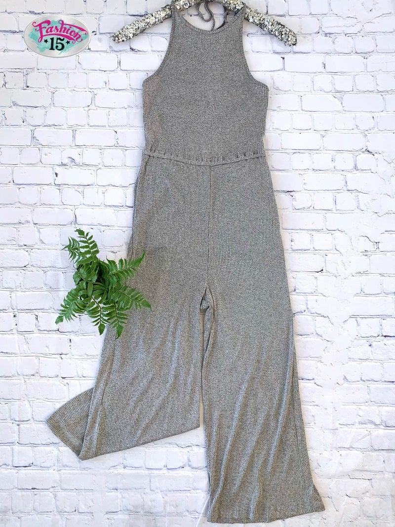 Grey Ribbed Halter Jumpsuit