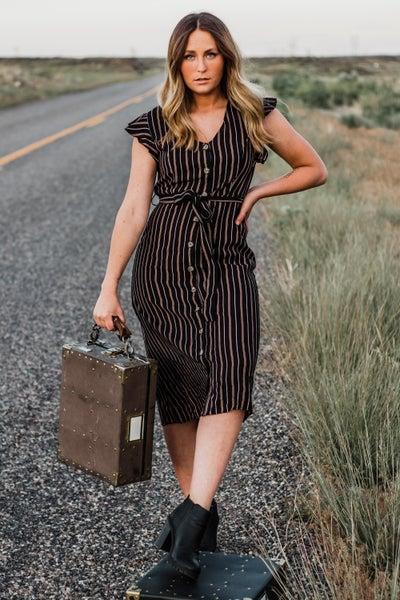 Black Striped Button-Down Dress
