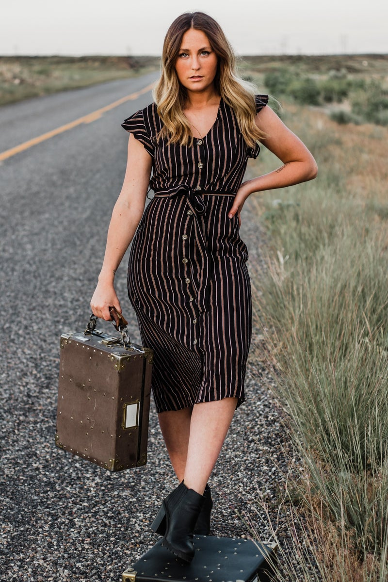 Black Striped Button-Down Dress