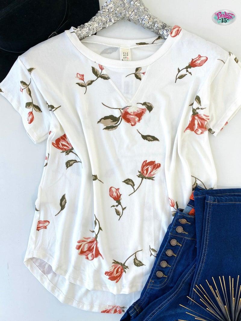.Super Soft Ivory Floral Top