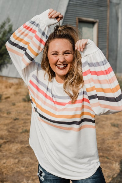 *Erin's Closet* Ivory Top w/ Colorful Stripes