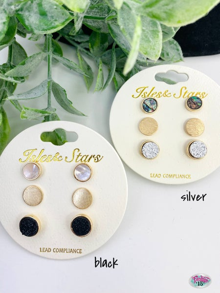.Trio Gold Earrings