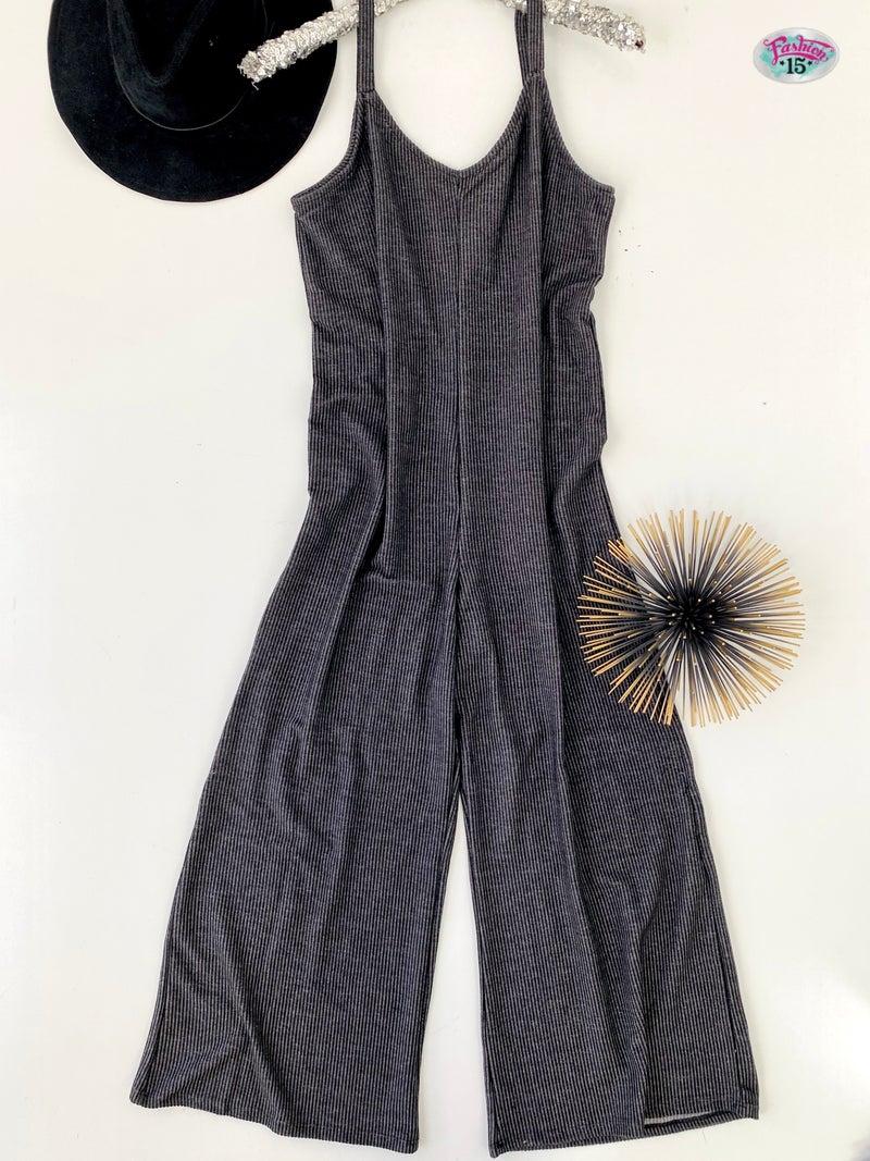 .Black & Charcoal Ribbed Jumper