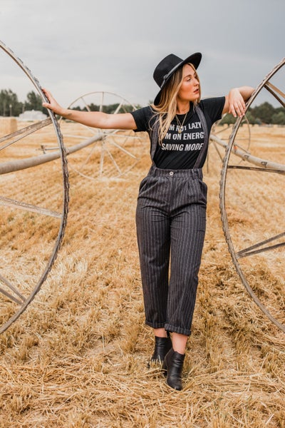 Charcoal Pinstripe Overalls