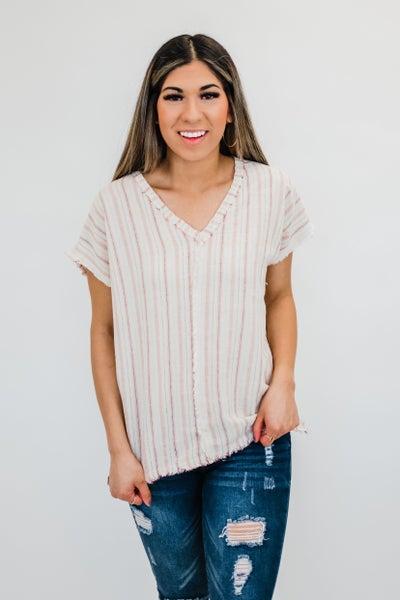 Cream Striped V-Neck Top