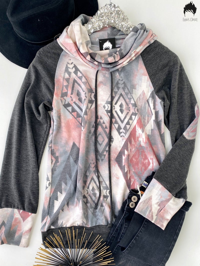 Charcoal Cowl Neck Top w/ Aztec Design