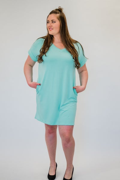 ~Rolled Short Sleeve Dress