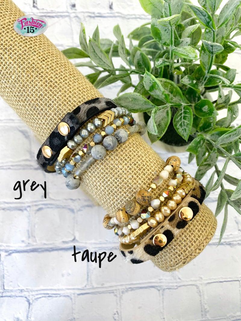 Beaded & Animal Print Bracelet