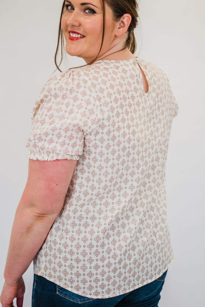 ~Taupe Patterned Top