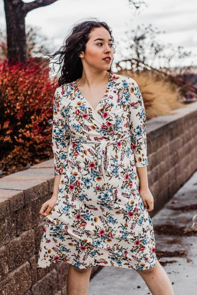 Cream Floral Dress w/ Tie