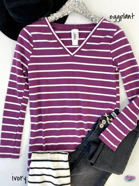 .Striped V-Neck Top