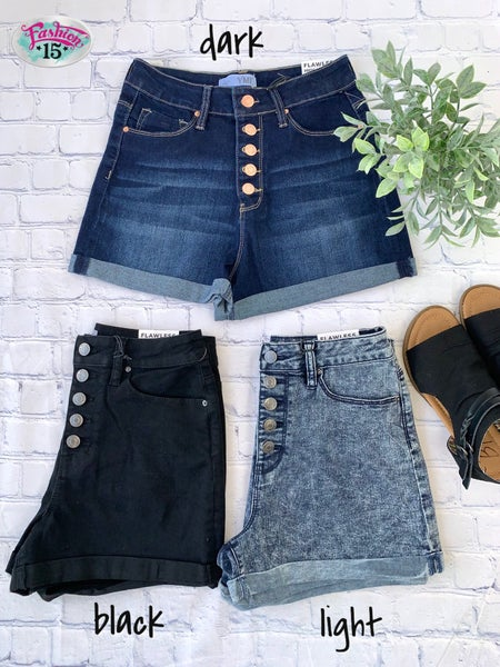 Button Fly Denim Shorts