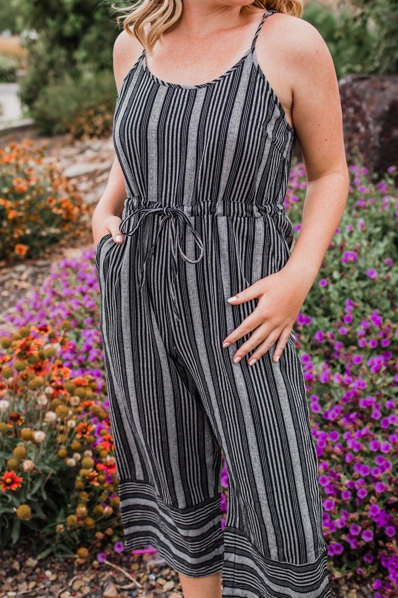 Black & Grey Striped Jumpsuit