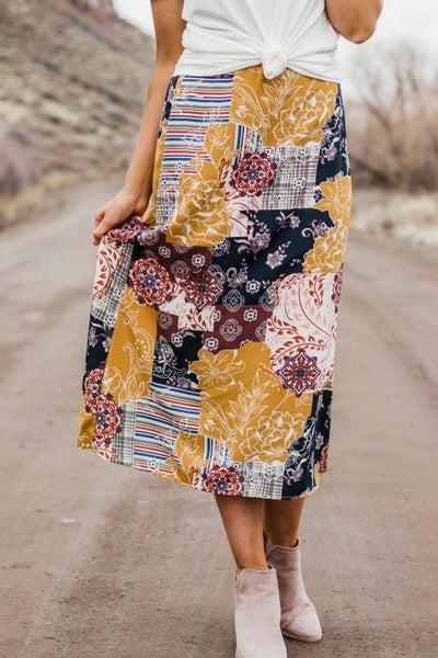 Mustard Floral Skirt