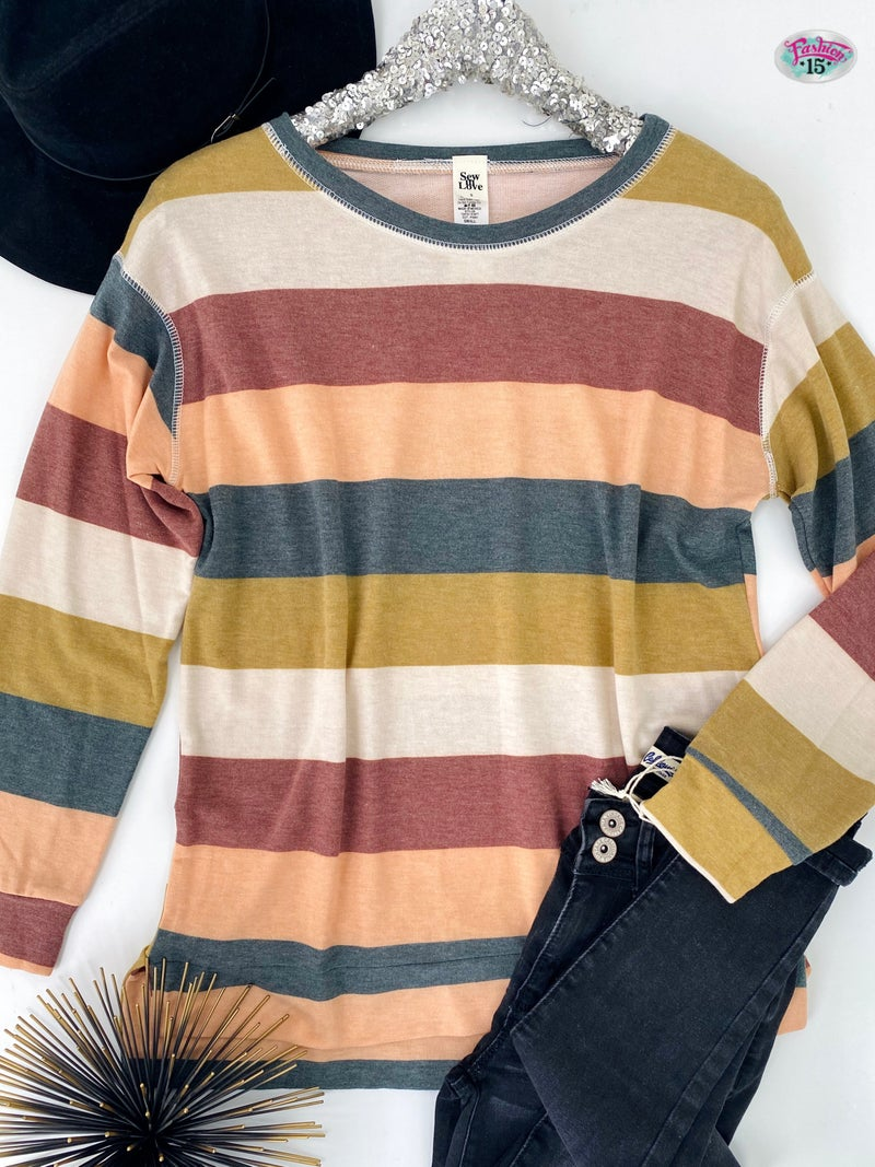 .~Peach & Charcoal Striped Top