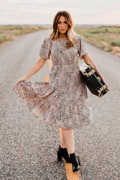 *Erin's Closet* Taupe Animal Print Dress