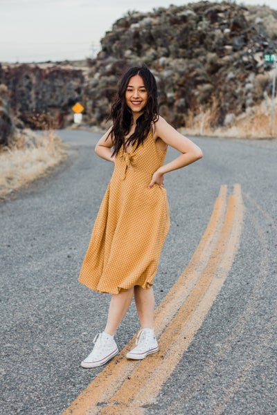 Mustard Polka Dot Dress w/ Keyhole *Final Sale*