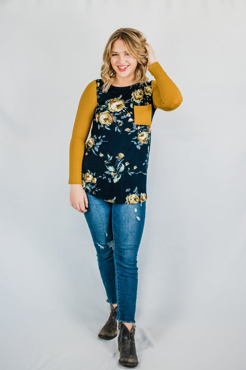 Mustard and Navy Floral Top
