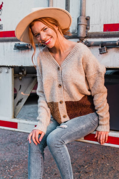 Taupe Color Block Button-Up Cardigan