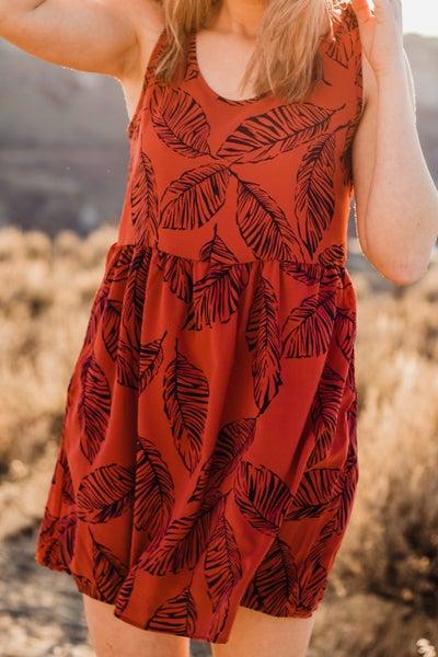 Baby Doll Leaf Pattern Dress *Final Sale*
