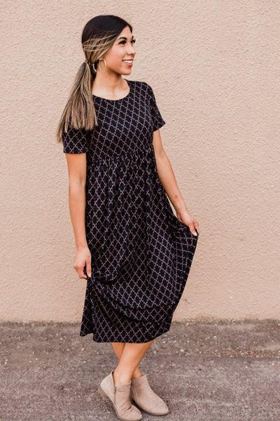 Dark Navy Patterned  Dress