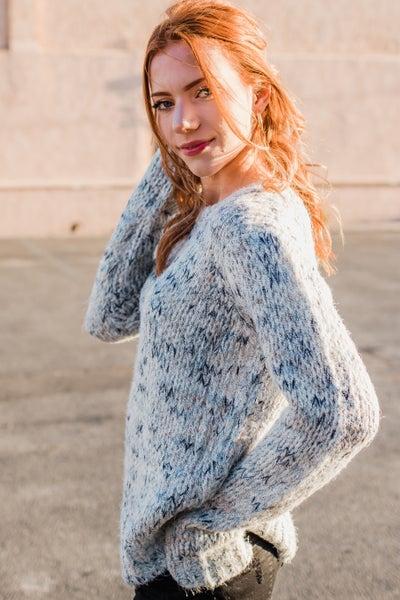 .Grey & Blue Knit Sweater