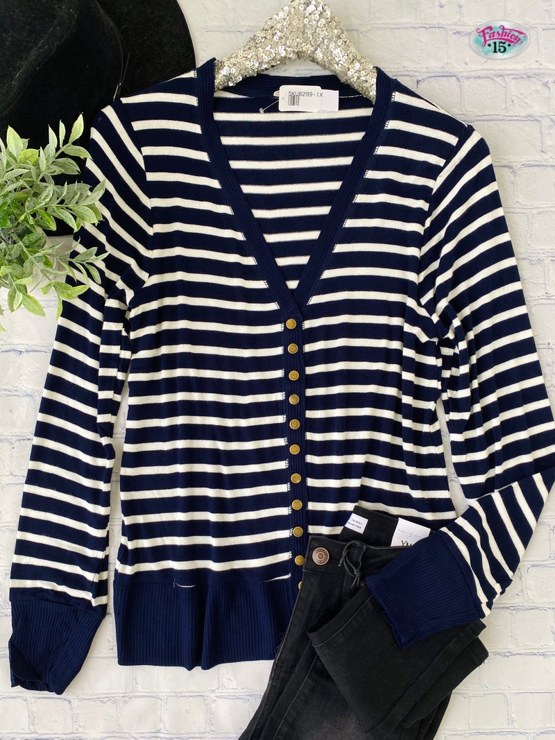 Plus Navy & Ivory Striped Snap Cardigan