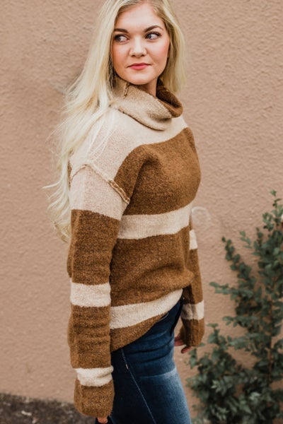 Mocha & Taupe Striped Cowl Neck Top