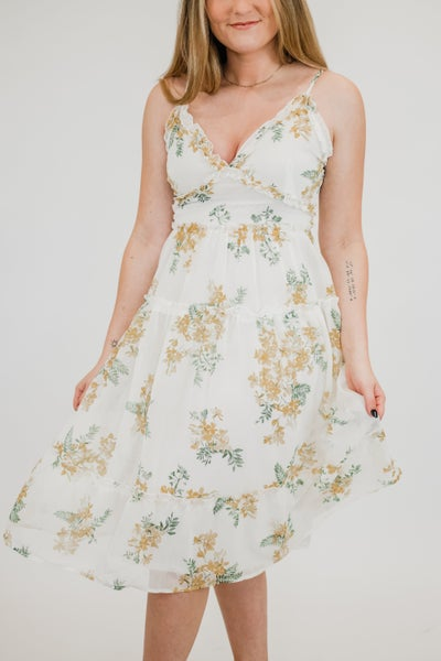 Floral Sun Dress w/ Spaghetti Straps