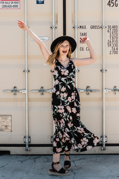 Floral Maxi Dress w/ Side Cut Outs