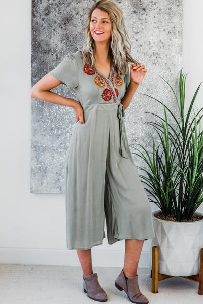 Olive Jumpsuit w/ Embroidery